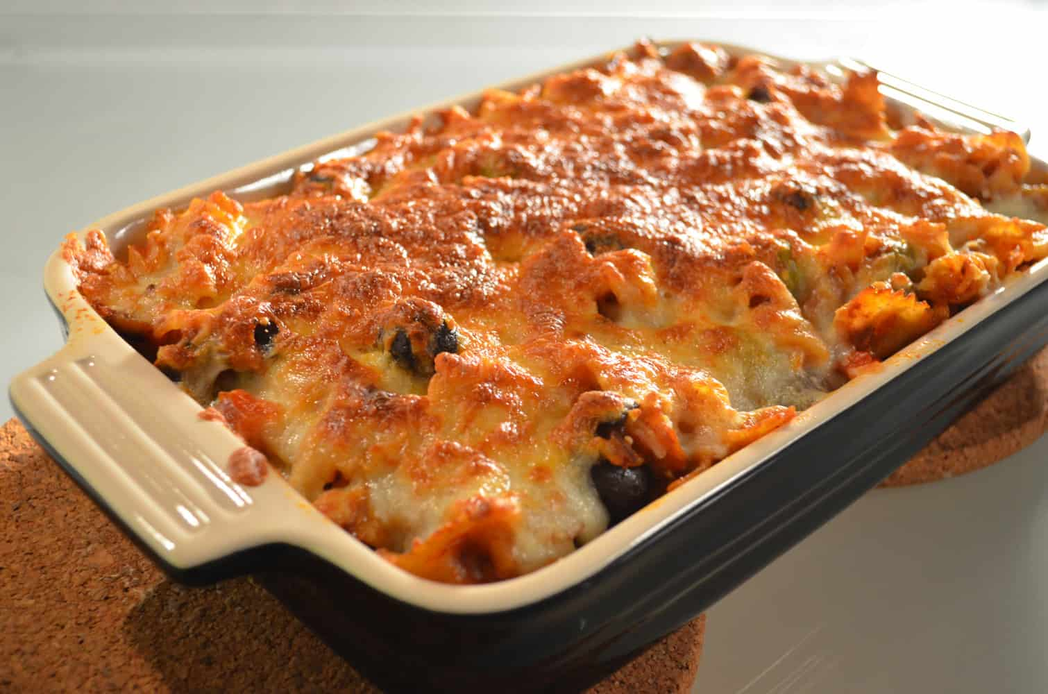 Baked vegetarian eggplant and olive pasta casserole | Red Blooded ...