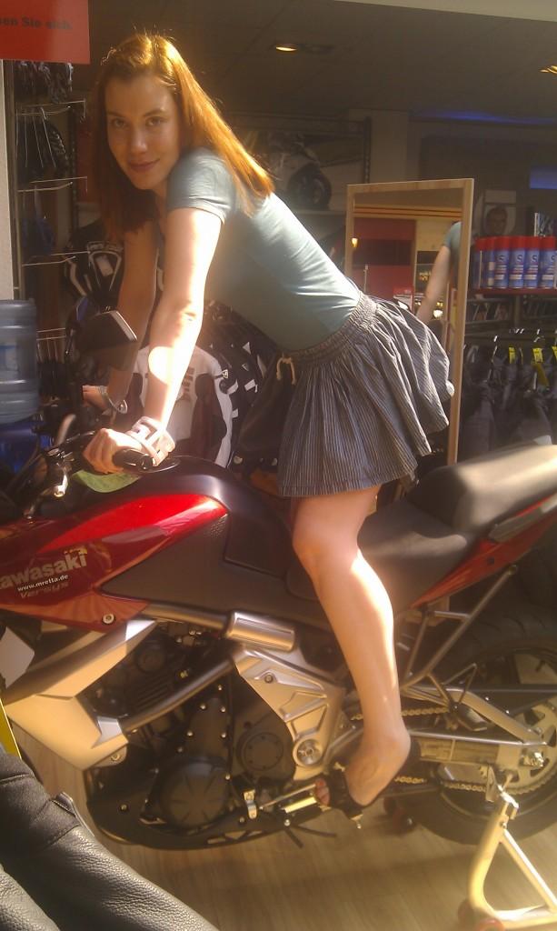 Me on Kawasaki in a biker store in Kiel